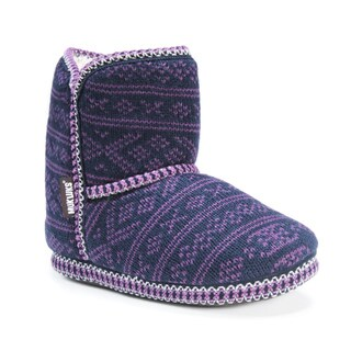 Muk Luks Women's Polyester/ Acrylic Short Knit Patterned Bootie