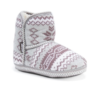 Muk Luks Women's Polyester/ Acrylic Short Knit Patterned Bootie