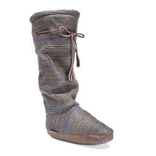 Muk Luks Women's Tall Grace Tie Boot Slipper