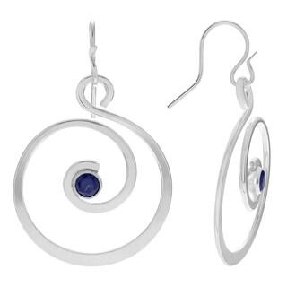 Journee Collection Sterling Silver Cubic Zirconia Swirl Dangle Earrings
