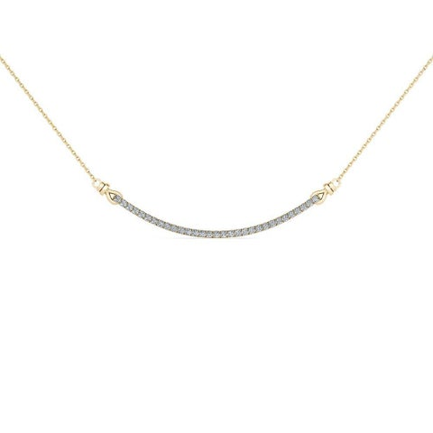 De Couer 10k Yellow Gold 1/4ct TDW Diamond Bar Necklace
