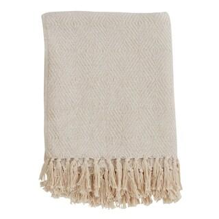Cotton Throw Blanket With Diamond Weave Design