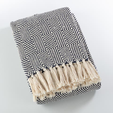 Cotton Throw Blanket With Diamond Weave Design