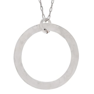 Journee Collection Sterling Silver Hammered Circle Pendant