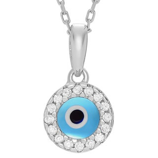 Journee Collection Sterling Silver Cubic Zirconia Accent Evil Eye Necklace