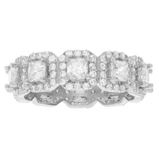 Journee Collection Sterling Silver Cubic Zirconia Halo Eternity Band