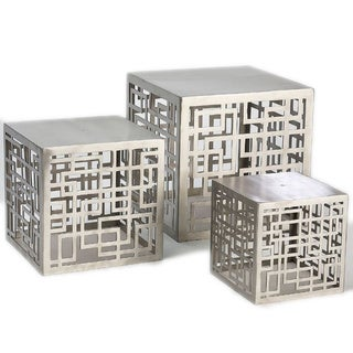 Mayfair Silver Stainless Steel Risers (Set of 3)