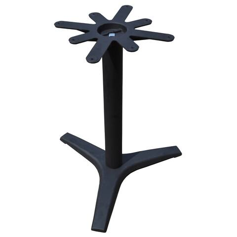 JI Bases 27-inch Cast Iron 3-prong Restaurant Table Base with 3-inch Column and 17-inch Top Plate
