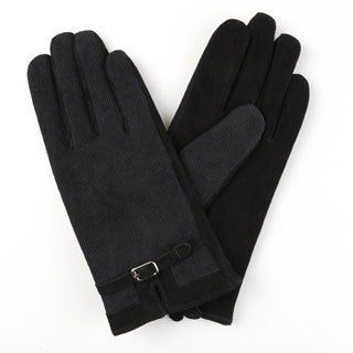 Journee Collection Women's Lined Leather Suede Corduroy Gloves