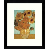 Framed Art Print 'Sunflowers on Blue, 1888' by Vincent van Gogh 9 x 11-inch