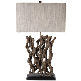 Journee Home 'Arcadian' 27.5 in. Rectangle Shade Metal Driftwood Table Lamp