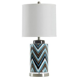 Journee Home 'Zeke' 27.5 in. Ceramic Linen Shade Table Lamp