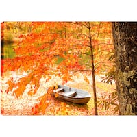 P.T.Turk 'The Lake Boat' Landscape Photography 24 x 36 Gallery Wrapped Wall Art