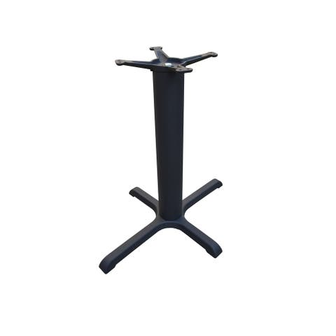 JI Bases Black 22 x 30-inch Cast Iron 4-prong Restaurant Table Base with 4-inch Column, and 13-inch Top Plate