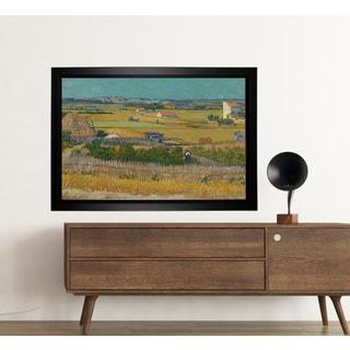 Vincent Van Gogh 'A Harvest Landscape with Blue Cart' Framed Painting Print on Canvas