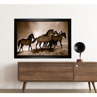 Lisa Dearing 'Wild Horses' Framed Hand Wrapped Canvas Art