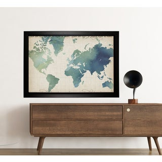 Watercolor World Map (Framed Version)