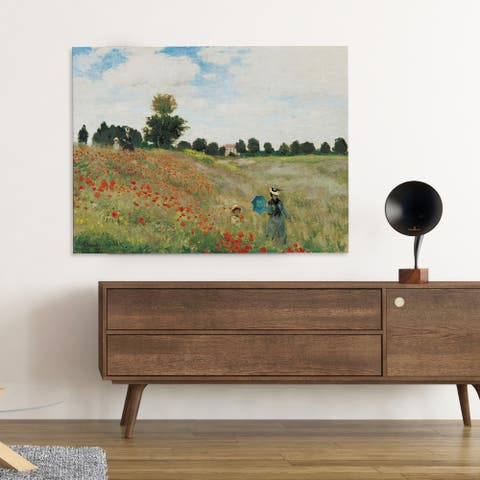 'Poppy Field' by Oscar-Claude Monet Framed Painting Print on Wrapped Canvas