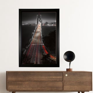Aaron Reed 'The Bay' Hand-wrapped Framed Canvas of the Golden Gate Bridge
