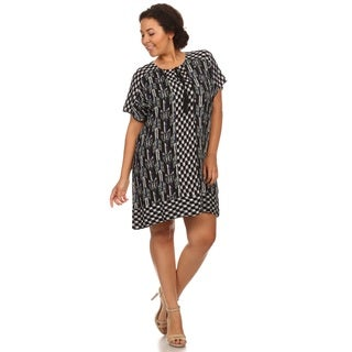 Hadari Woman Plus size short dress with geometric print