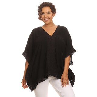 Hadari Woman Plus sise Boho top with trim lace