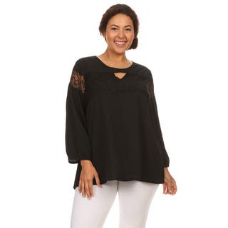 Hadari Woman Plus size chiffon long sleeves top|https://ak1.ostkcdn.com/images/products/12182904/P19032872.jpg?impolicy=medium