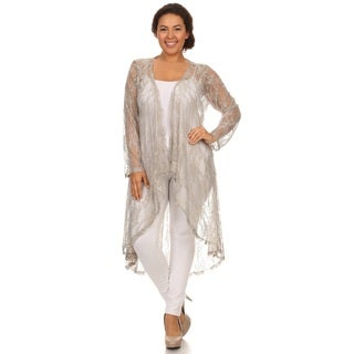 Hadari Woman Plus size , lace high low cardigan