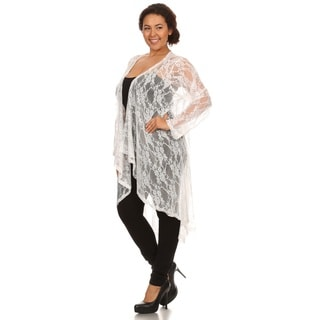Hadari Woman Plus size high low lace Cardigan