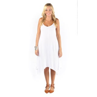 Hadari Womens White Sphagetti Strap V-Neck Medi Dress With Handkerchief Hem