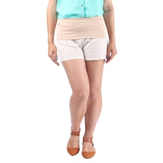 Hadari Woman linen shorts with band over waist line