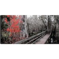 P.T.Turk 'Wooden Bridge III' Landscape Photography 18 x 24 Gallery Wrapped Wall Art
