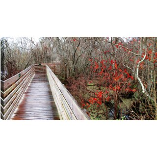 P.T.Turk 'Wooden Bridge' Landscape Photography Gallery-wrapped Wall Art