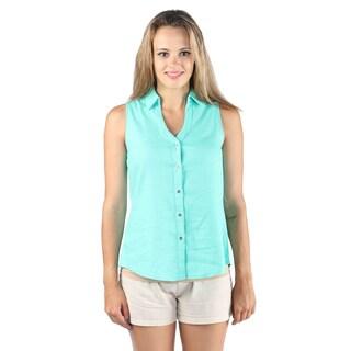 Hadari Woman sleeveless linen butten down dress shirt