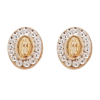 Decadence 14k Two-tone Gold High-polish Our Lady of Guadalupe Medal Hat Stud Earring