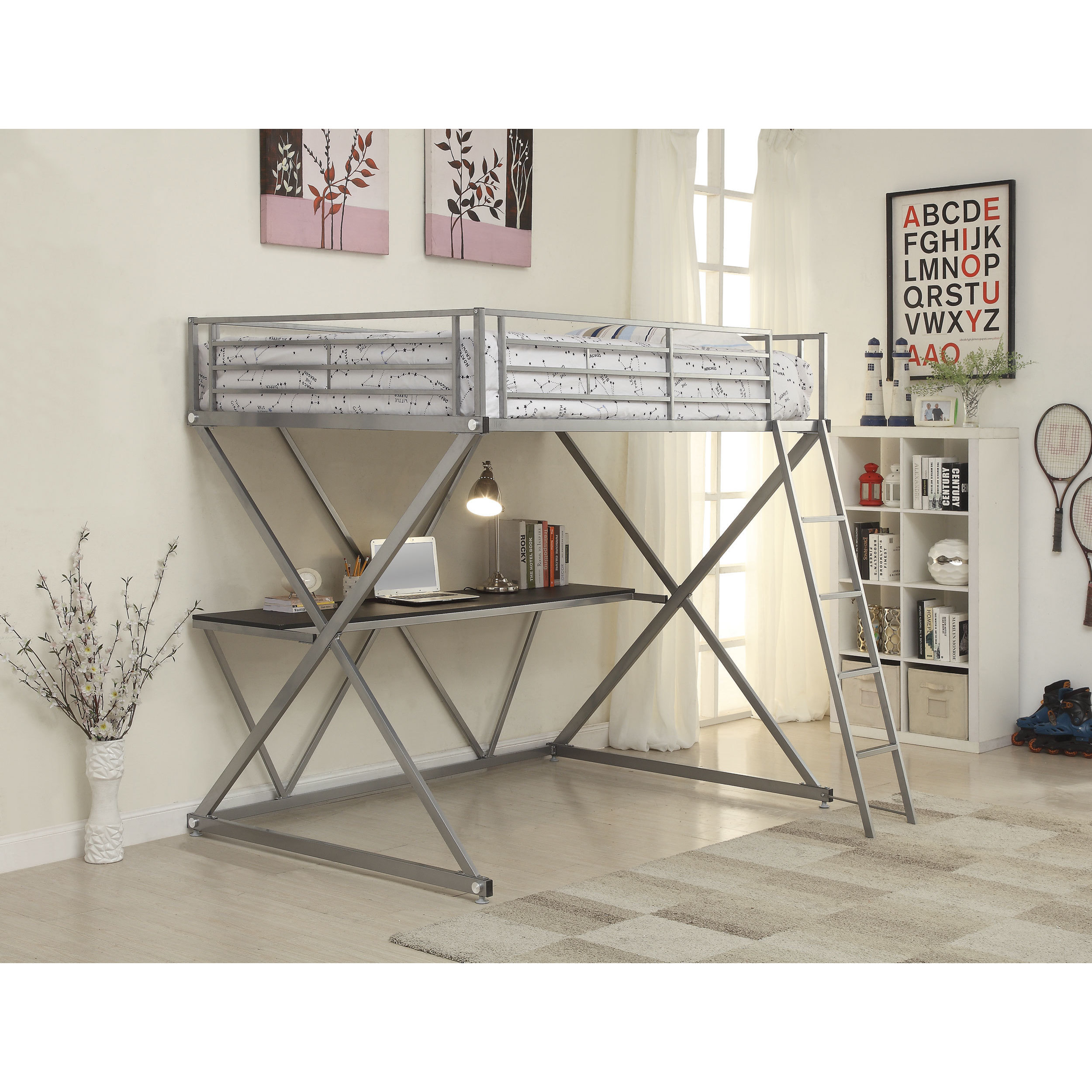 Coaster Furniture Silver Loft Bed with Desk (Twin)