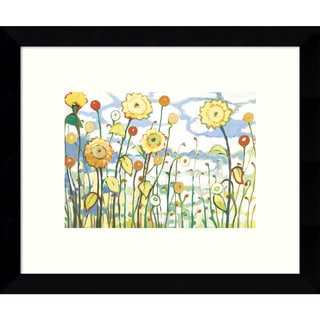 Framed Art Print 'Watching the Clouds Go By (Floral)' by Jennifer Lommers 11 x 9-inch