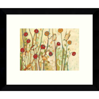 Framed Art Print 'Five Little Birds Playing Amongst the Poppies' by Jennifer Lommers 11 x 9-inch