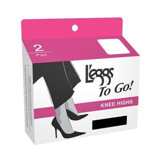 To Go Plus Women's Jet Black Knee Highs (Set of 2)