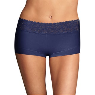 Cotton Women's Dream Navy Boyshort With Lace