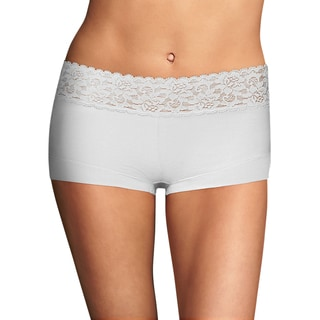 Cotton Women's Dream White Boyshort With Lace