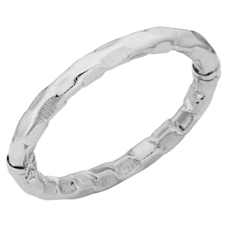 Argento Italia Rhodium Plated Sterling Silver 8.5-mm Textured Pressed Hinged Bangle