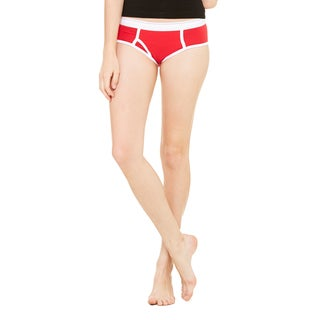 Cotton Women's Red White Spandex Boyfriend Brief
