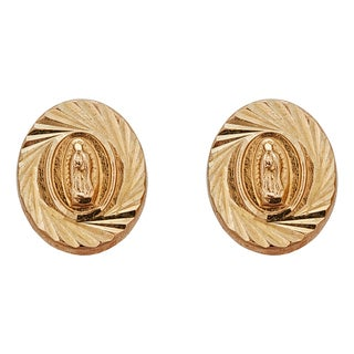 Decadence 14k Yellow Gold Diamond-cut Our Lady of Guadalupe Medal Hat Stud Earring