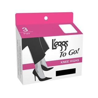 To Go Women's Regular Nude Knee Highs (Pack of 3)
