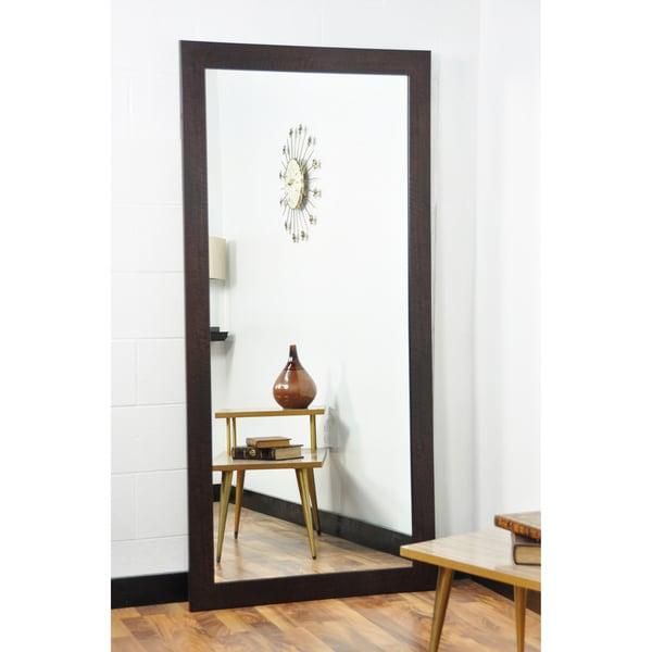 BrandtWorks Walnut 32 x 66-inch Floor Mirror - Brown - Free Shipping ...