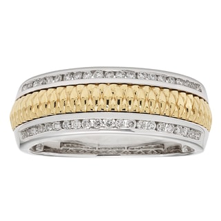 Sofia Men's 14k White and Yellow Gold 1/3ct TDW Round-cut Wedding Band (H-I I1)