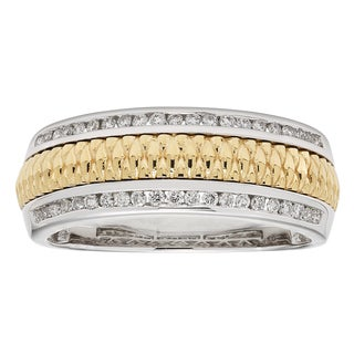 Sofia Men's 14k White and Yellow Gold 1/3ct TDW Round-cut Wedding Band
