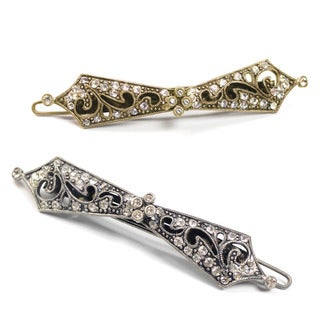 Sweet Romance Crystal/Brass Art Deco Vintage Taper Wedding Barrette