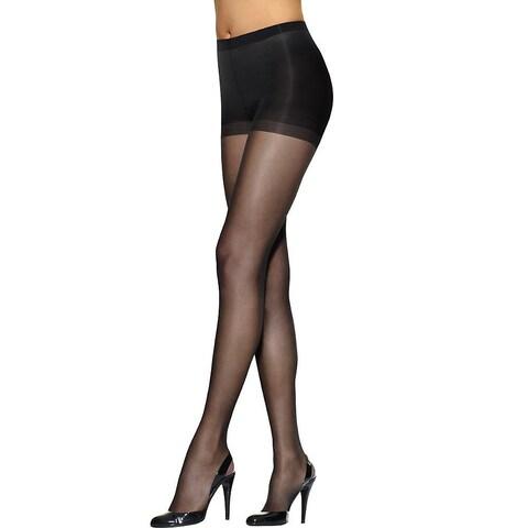Silken Mist Run Resist Control Women's Jet Black Panty Hose Top