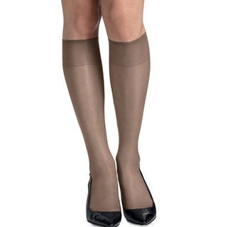 Silk Reflections Women's Town Taupe Silky Sheer Knee Highs with Reinforced Toe (Pack of 2)